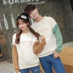 Je T'aime - Couple Matching Letter Panel Fleece Sweatshirt