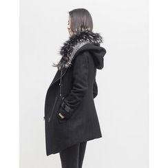 GUMZZI - Hooded Wool Blend Coat