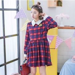 Moriville - Long-Sleeve Plaid A-line Dress