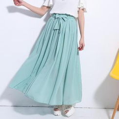 Lucky Leaf - Tie-Waist Pleated Chiffon Maxi Skirt