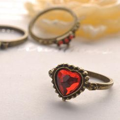 Fit-to-Kill - Heart Crown Three-Pieces Set Ring