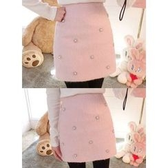 icecream12 - Faux-Pearl Wool Blend Mini Skirt