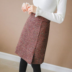 JUSTONE - Tweed Wool Blend A-Line Skirt