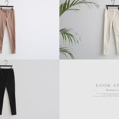 NANING9 - Fleece-Lined Leggings Pants