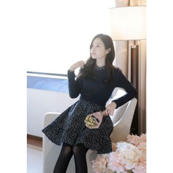 MyFiona - Inset Cable-Knit Sweater Floral Print Dress