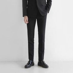 Seoul Homme - Flat-Front Straight-Cut Dress Pants