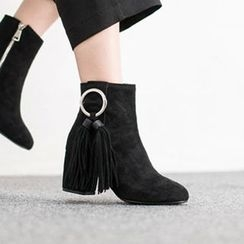 VIVIER - Fringed-Detail Faux-Suede Ankle Boots