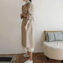 Hello sweety - Double-Breasted Trench Coat with Sash