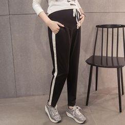 Dadada - Maternity Contrast Trim Drawstring Pants