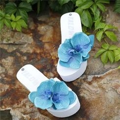 Trava - Flower Platform Slide Sandals