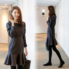 WITH IPUN - Ruffle-Hem Checked Wool Blend Dress