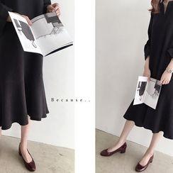 DAILY LOOK - Open-Placket Ruffle-Hem Dress