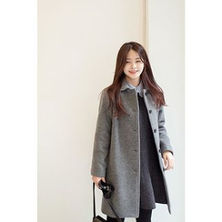 CHERRYKOKO - Peterpan-Collar Buttoned Wool Blend Coat