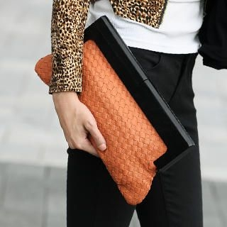 Woven Faux Leather Large Clutch