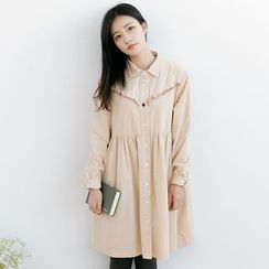 Forest Girl - Frill Trim Long Sleeve Corduroy Collared Dress