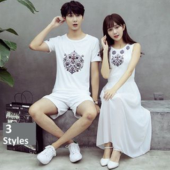 We Belong - Couple Matching Print Short-Sleeve T-Shirt / Sleeveless Midi Dress