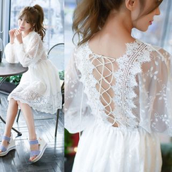 Dowisi - Puff-sleeve Lace Dress