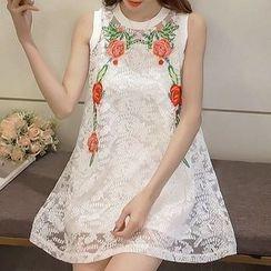 Fashion Street - Sleeveless Lace A-line Dress