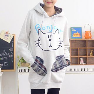 Bonjour Cat Face Applique Hooded Pullover