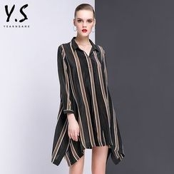 Y:Q - Striped Asymmetric Shirtdress
