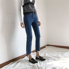 EEKO - Asymmetric Hem Straight Cut Jeans