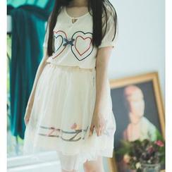 Moricode - Set: Heart Embroidered Short-Sleeve T-Shirt + Mesh A-Line Skirt