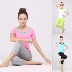 AUM - Yoga Set: Short-Sleeve Top + Cropped Pants