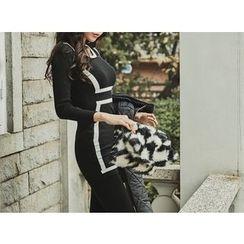 UUZONE - Contrast-Trim Bodycon Dress