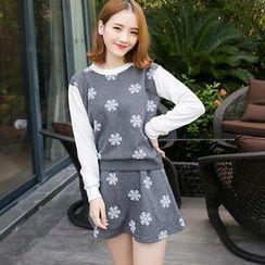 LULUS - Set: Floral Paneled Sweatshirt + Skirt