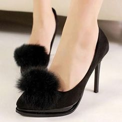 Mancienne - Pompom-Accent Pointy Stilettos