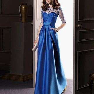 Angel Bridal - Mesh Elbow Sleeve A-Line Evening Gown