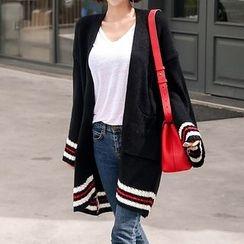 Seoul Fashion - Drop-Shoulder Contrast-Trim Cardigan