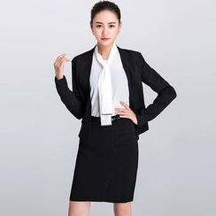 Eleganza - Single Button Blazer / Pencil Skirt / Blouse / Set: Single Button Blazer + Pencil Skirt + Blouse