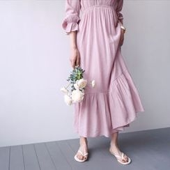 STYLEBYYAM - V-Neck Gathered-Waist Ruffle-Hem Long Dress