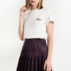 Obel - Letter Embroidered Short Sleeve T-Shirt