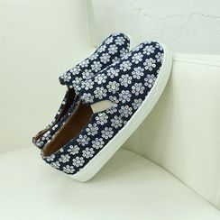 Dodostyle - Floral-Sequined Denim Slip-Ons