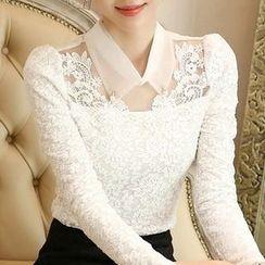 Eferu - 缀饰领蕾丝长袖上衣