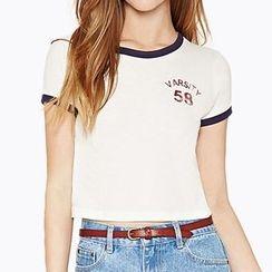 Obel - Lettering Tipped Short Sleeve T-Shirt
