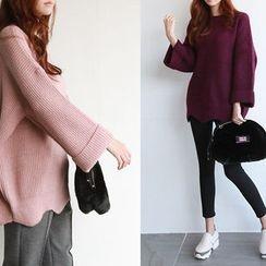 NIPONJJUYA - Wide-Sleeve Scallop-Hem Sweater