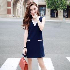 Lovi - Stripe Trim V-Neck Sheath Dress