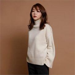 MAGJAY - Wool Blend Mock-Neck Knit Top