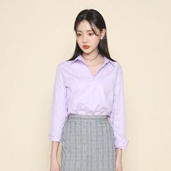 Envy Look - Tab-Sleeve Plain Shirt