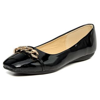 YesStyle Footwear - Chain-Accent Patent Flats