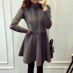 Little V - Lace Panel Long-Sleeve Knit Dress