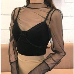ALIN STYLE - 套裝: 網紗長袖上衣 + 胸衣