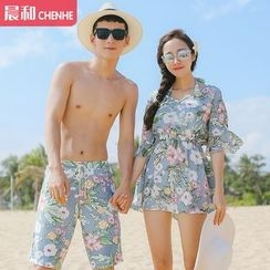 Morning Dew - Couple Matching Floral Print Bikini + Cover-up / Swim Shorts