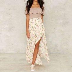 Obel - Floral Print Side Slit Maxi Skirt