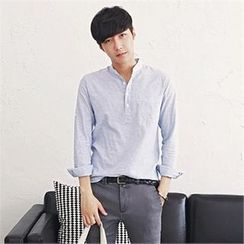 MITOSHOP - Mandarin-Collar Tab-Sleeve Shirt