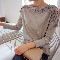 LEELIN - Crochet-Trim Long-Sleeve Top