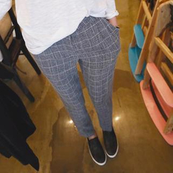 REDOPIN - Slim-Fit Check Pants